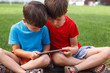 Little boys with tablet