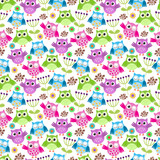 Seamless vector background with colorful funny owls