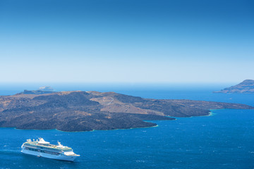 Cruise Ship On The Sea in Santorini