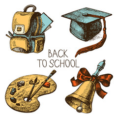 Hand drawn vector school object set. Back to school illustration