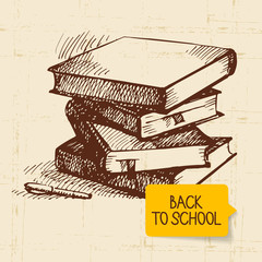 Vintage hand drawn back to school illustration
