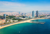 Fototapety aerial view of Barcelona from Mediterranean