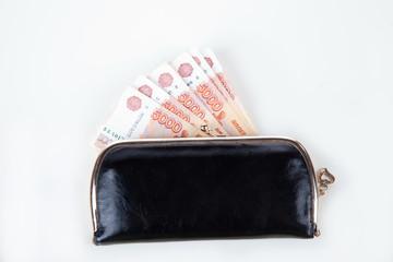 Ruble money in black purse