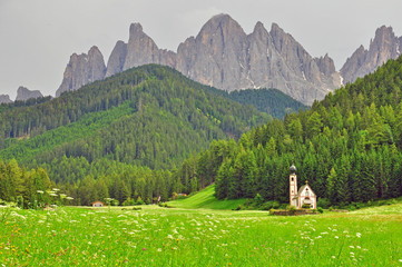 Lonely church in Dolomites