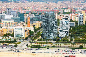 Aerial view of Barcelona in summer