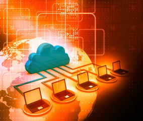 Cloud computing concept on digital background