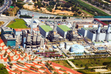 Aerial view of Industry power plant. Barcelona