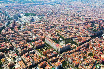 Barcelona from helicopter. Sants  district
