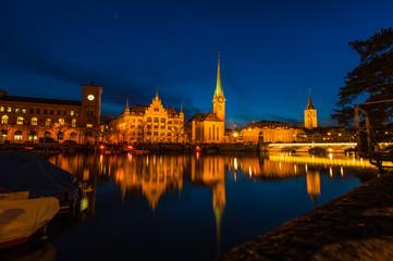 Cityscape of Clock Tower in Zurich, Switzerland