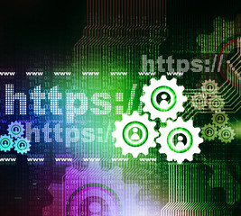Https with cog wheels , Web design concept.
