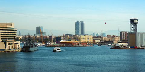 view of Port Vell from sea. Barcelona