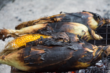 Grill corn by place on a rack and grill on charcoal grills