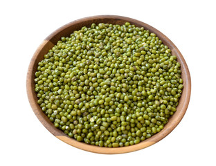 Green mung beans in white bowl isolated on white