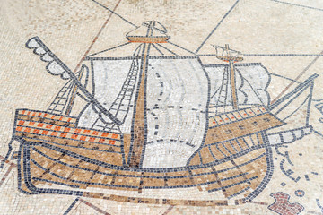 Mosaic of ancient greek ship, Canakkale, Turkey.