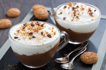 dessert with chocolate, cream and amaretti in cups