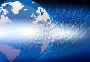 Earth globe on digital binary background