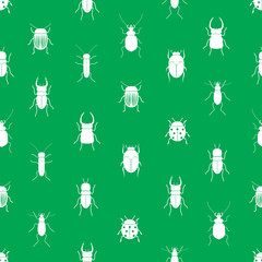 bugs and beetles simple seamless green pattern eps10
