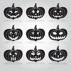 halloween carved pumpkins set eps10