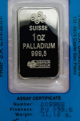 One Ounce Pure Palladium Bar with Assay Certificate