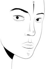 Young woman face, portrait