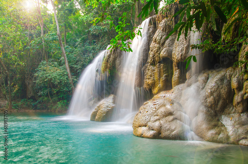 Waterfall in Deep forest at Erawan waterfall National Park - 68983705
