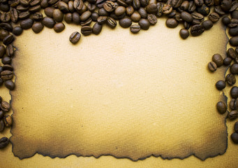 Coffee over old paper background