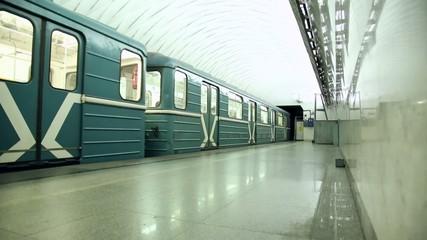 Trains And Passengers Traffic At Subway Station
