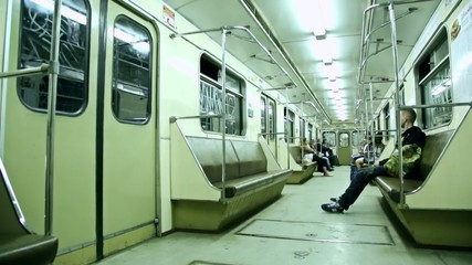 Inside moving subway car New Moscow City