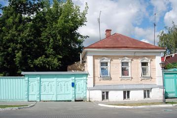 A wooden house. Kremlin in Kolomna, Russia.