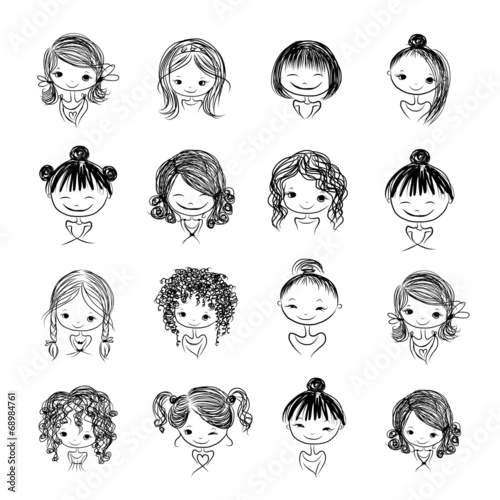 Set of cute girl characters, cartoon for your design - 68984761
