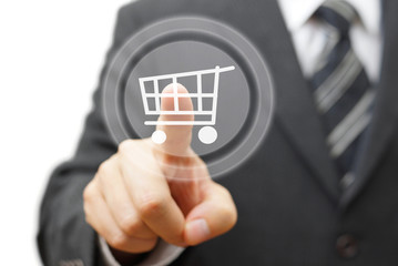 Online shopping  concept with businessman touching virtual shopp