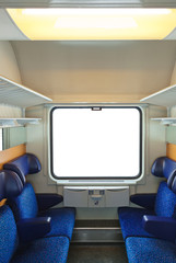 Interior of train and blank window