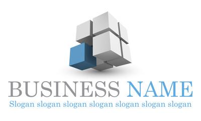 Logo cubique bleu