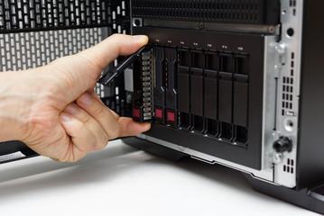 inserting disk into data server