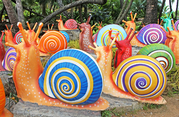 The synthetic giant snails in Nong Nooch, Pattaya, Thailand