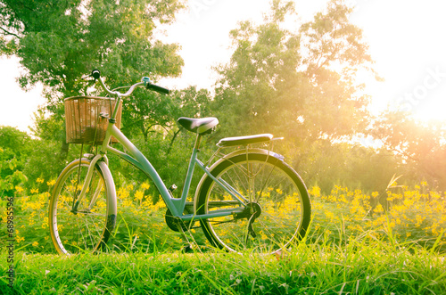 Deurstickers Fiets beautiful landscape with Bicycle at park