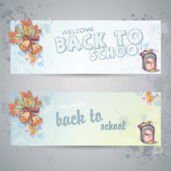 two horizontal banners with a school backpack and autumn leaves