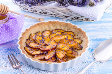 Nectarine tarte with lavender and honey