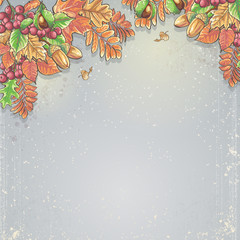 autumn background with maple leaves, oak, chestnut