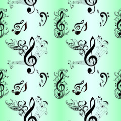 Seamless Pattern of Music Notes
