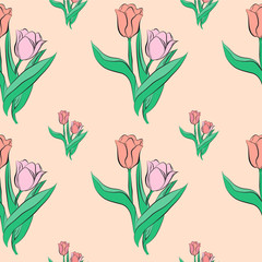 Seamless pattern with tulip flowers.
