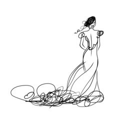Bride in white dress, sketch for your design