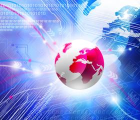globe on the digital technology background