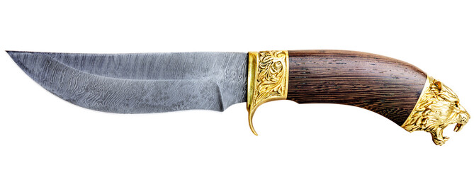 Knife of Damascus steel isolated on white