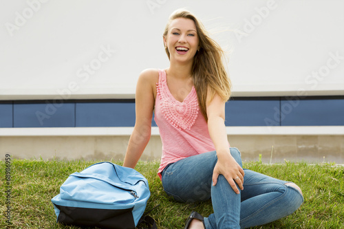 canvas print picture Beautiful teenage studying