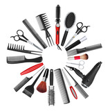 a collection of tools for professional hair stylist and makeup a