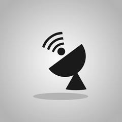 Radar satellite dish - Vector icon