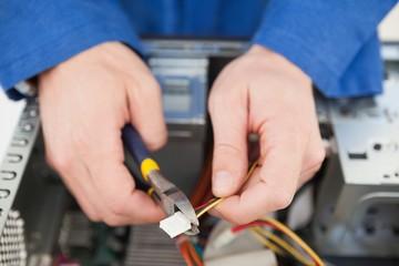 Computer engineer working on broken cable
