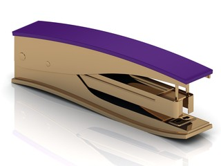 Golden stapler with a lilac handle