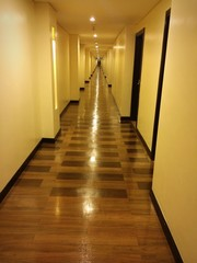 Long and narrow corridor in a hospital or hotel.